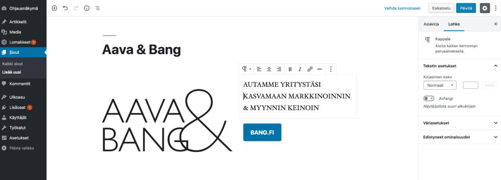 Gutenberg editorinäkymä